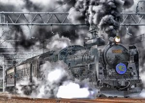 Steam Train pulling Carriages